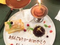 Birthday dessert platter at family dinner